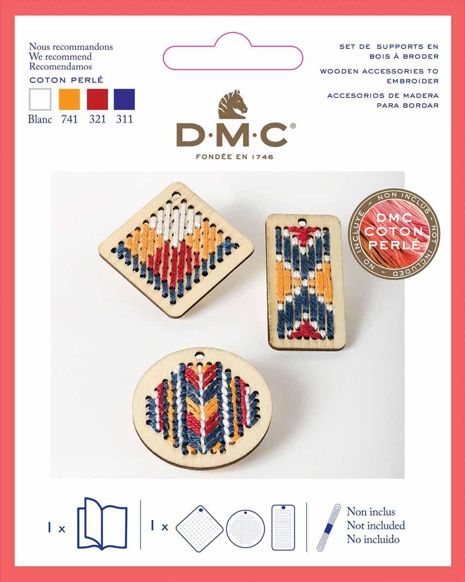 Kit pendentif en bois à broder DMC