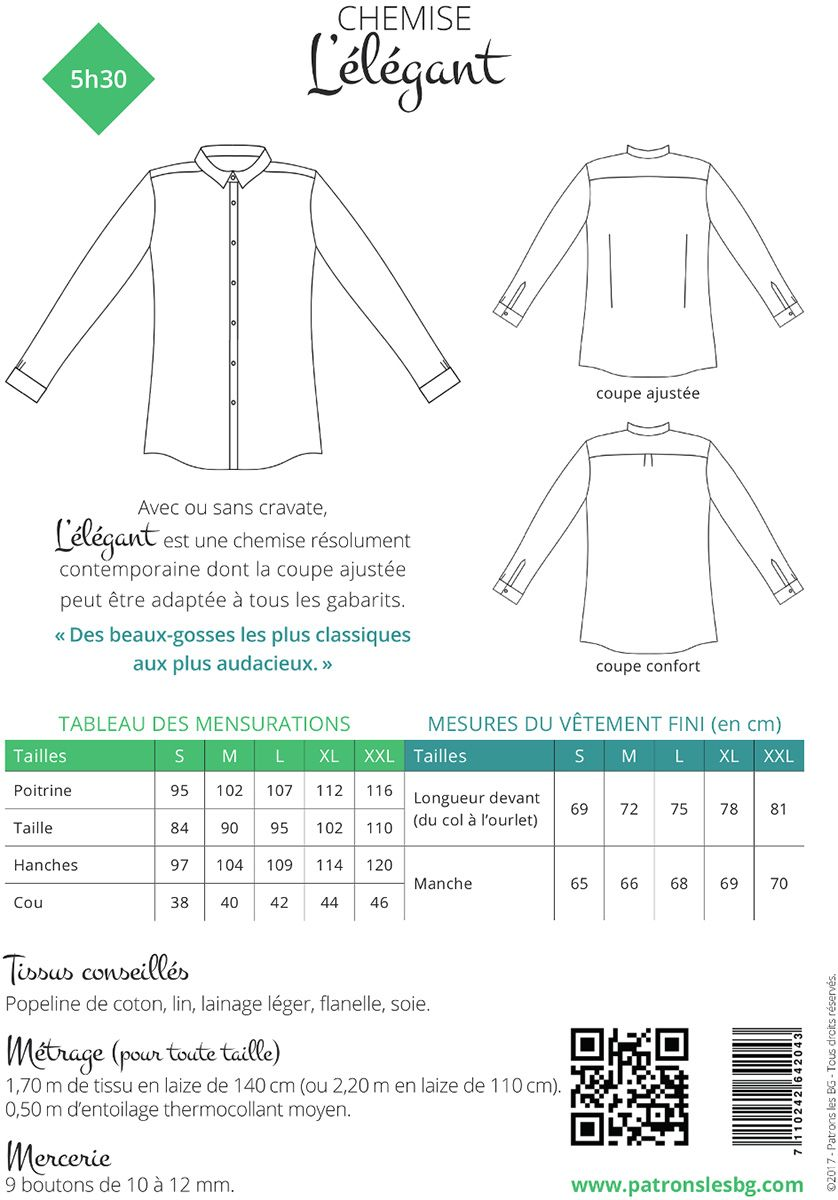 Patron de chemise pour homme L´Élégant - Les BG