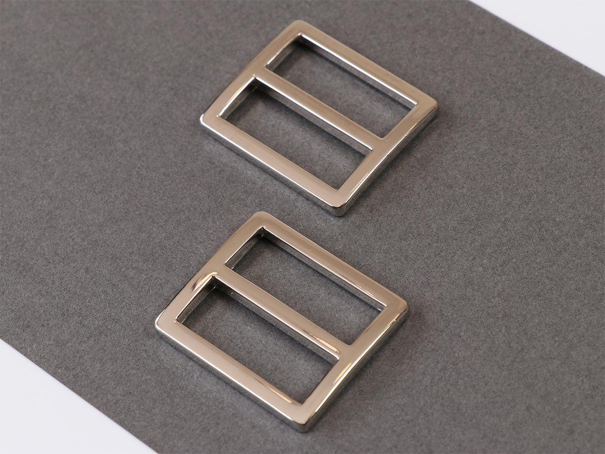 Set de 2 boucles coulissantes 28 x 25 mm argent
