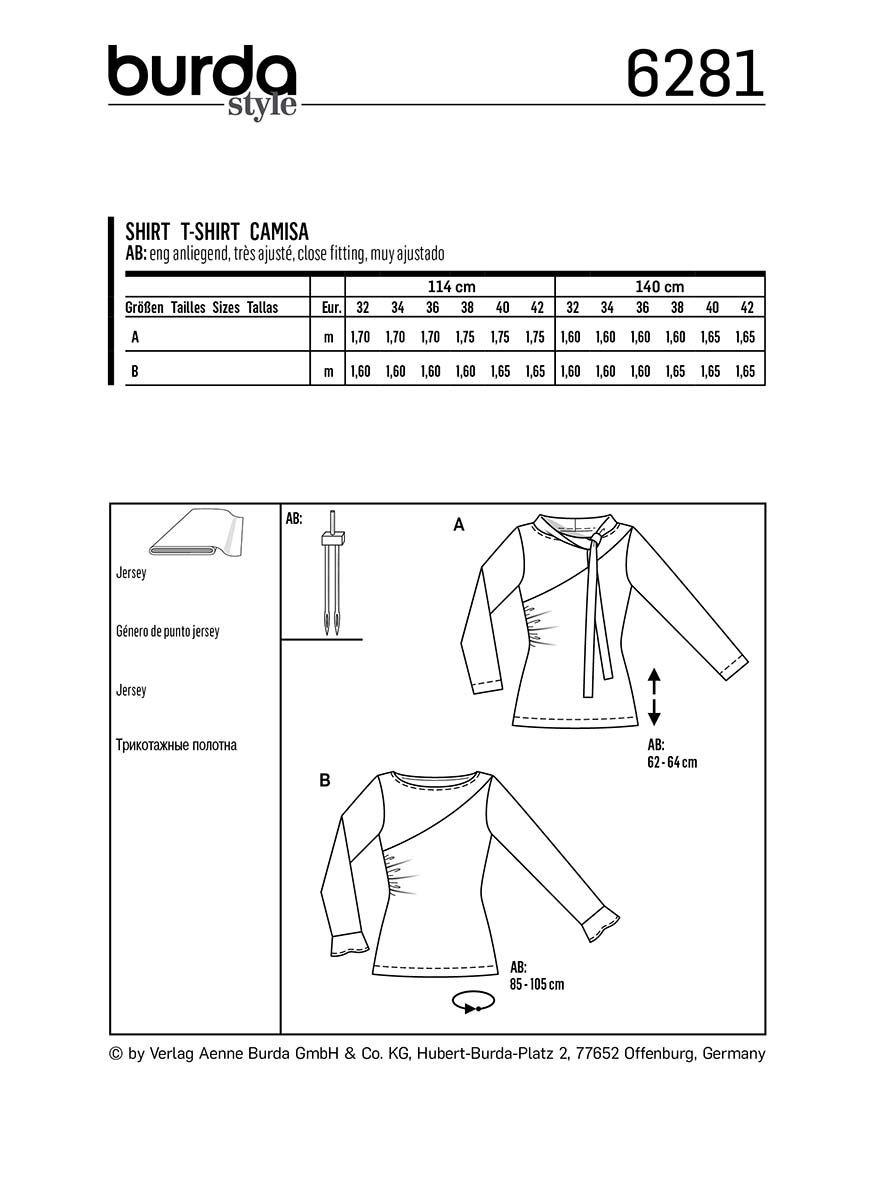 Patron de tee-shirt - Burda 6281