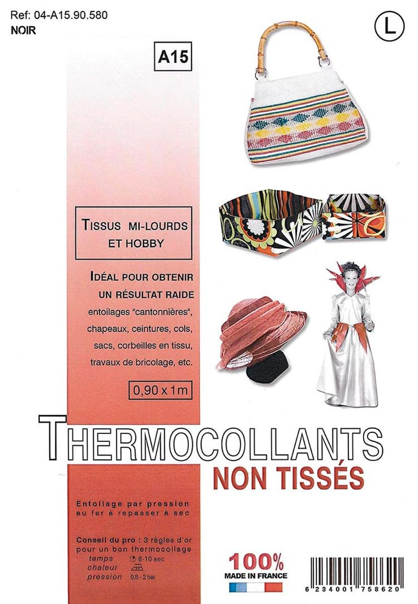 Entoilage non tissé thermocollant - Tissus mi-lourds et hobby - Noir