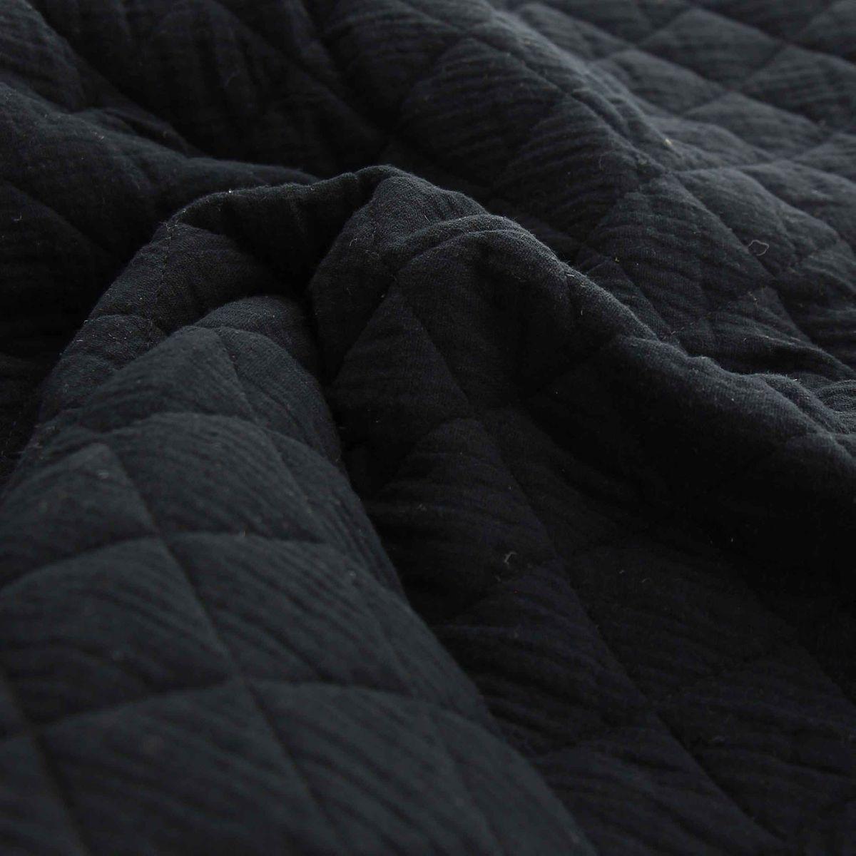 Tissu double gaze de coton matelassé - Noir